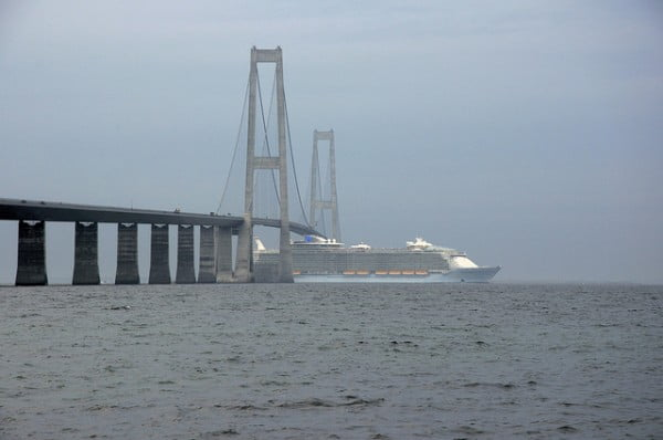 Allure of the Seas under Great Belt Bridge