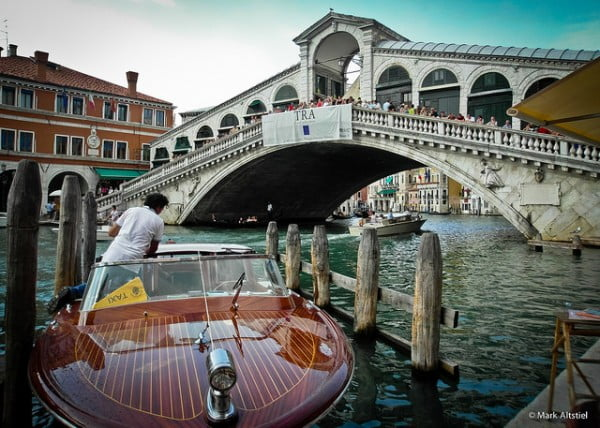 Rialto Bridge with Water Taxi - Venice