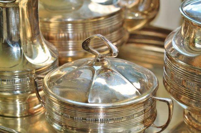 art deco style home decor silver ware